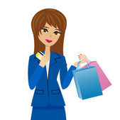 Woman with a credit card and purchases in hands — Vector de stock