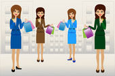 Business women with credit cards and purchases in hands — Stock Vector