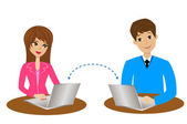 Man and woman communicate over the internet — Stock Vector