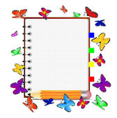 Notebook, pencil and butterfly — Vecteur