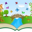Open book with summer landscape — Stock Vector #51331555