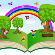 Open book with children and summer landscape — Stock Vector #51331789
