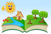 Open book with summer landscape — Stock Vector