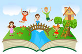 Open book with children and summer landscape — Stock Vector