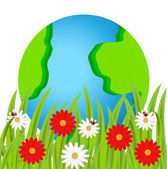 Planet earth and flowers on a white background — Stock Vector