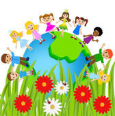 Children stand circumplanetary earth on a white background — Stock Vector