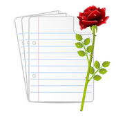 Paper folias and red rose — Vecteur