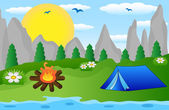Tourist tent on the riverside — Stock Vector