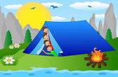 Children peek out from a tourist tent on the riverside — Stock Vector