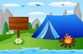 Tourist-Zelt am Flussufer — Stockvektor