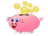 Chinks fall in a pig money-box on white background — Stock Vector
