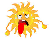 Sad sun is exhausted from a heat — Stock Vector
