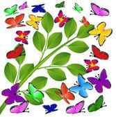 Fond avec des feuilles vertes et les papillons — Vecteur