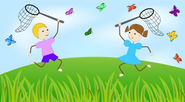 Girl and boy catch butterflies on a green lawn