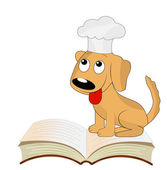 dog a cook sits on an open book — Vettoriale Stock