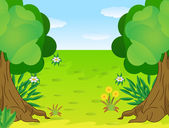 Summer landscape with trees and blue sky — Stock Vector