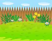 Green lawn with flowers and wooden fence — Stock Vector