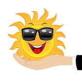 веселого солнца в руке на белом фоне — Cтоковый вектор