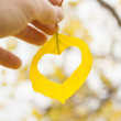 Hand holding yellow leaf — Stock Photo #33701951