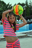 Girl with a ball — Photo