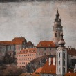Retro image of a Medieval castle of Cesky Krumlov. — Stock Photo