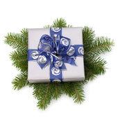 Silver presentförpackning — Stockfoto