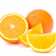 Whole orange fruit and his segments or cantles — Stock Photo #12544987
