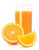 Portakal suyu cam ve turuncu meyve — Stok fotoğraf