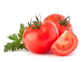 Maydanoz ve domates sebze yaprakları natürmort — Stok fotoğraf