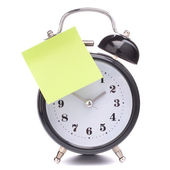 Alarm clock with sticky paper — Stockfoto