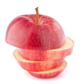 červené jablko nakrájené — Stock fotografie