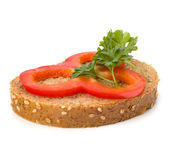 Open healthy sandwich with vegetable — Stock Photo