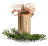 Scatola regalo d'oro — Foto Stock