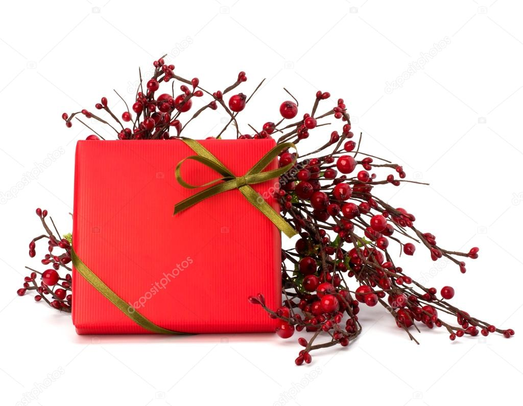 Festive gift box isolated on white background  Stock Photo #12903335
