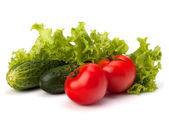 Tomato, cucumber vegetable and lettuce salad — Stock Photo