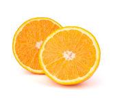 Sliced orange fruit segments isolated on white background — Stock Photo