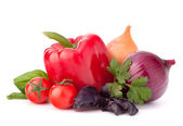 Sweet pepper, onion, tomato and basil leaves still life — Stock Photo