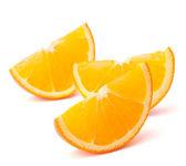 Drei orangenfrucht segmente oder cantles — Stockfoto
