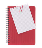 Red notebook with notice papers — Stock Photo