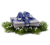 Silver gift box — Stock Photo
