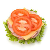 Healthy open sandwich with lettuce, tomato, smoked ham and chees — Stock Photo