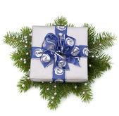 Geschenkschachtel silber — Stockfoto