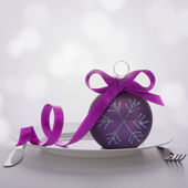 Christmas ball decoration on plate. — Stock Photo