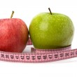 Apple with tape measure. Healthy lifestyle concept. — Stock Photo
