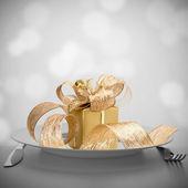 Luxe gift op plaat. — Stockfoto