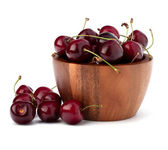 Cherry in wooden bowl — Stock Photo