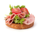 Healthy sandwich with vegetable and smoked ham — Stock Photo