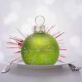 Christmas ball decoration on plate. — Stock Photo
