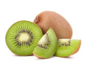 Whole kiwi fruit and his sliced segments — Stock Photo