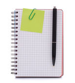 Notebook with notice paper and pen — Stock Photo
